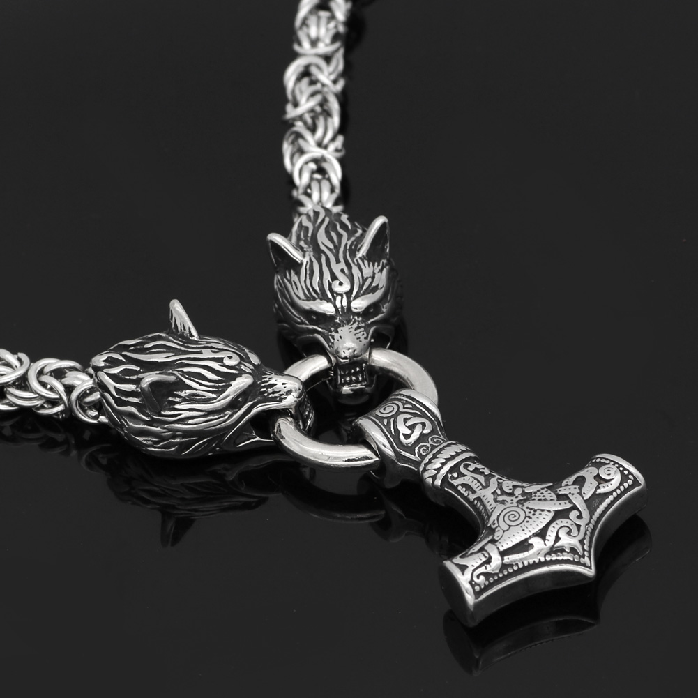Image 4 - Men stainless steel Wolf head norse viking amulet thor hammer  pendant necklace handmade chain-in Pendant Necklaces from Jewelry & Accessories