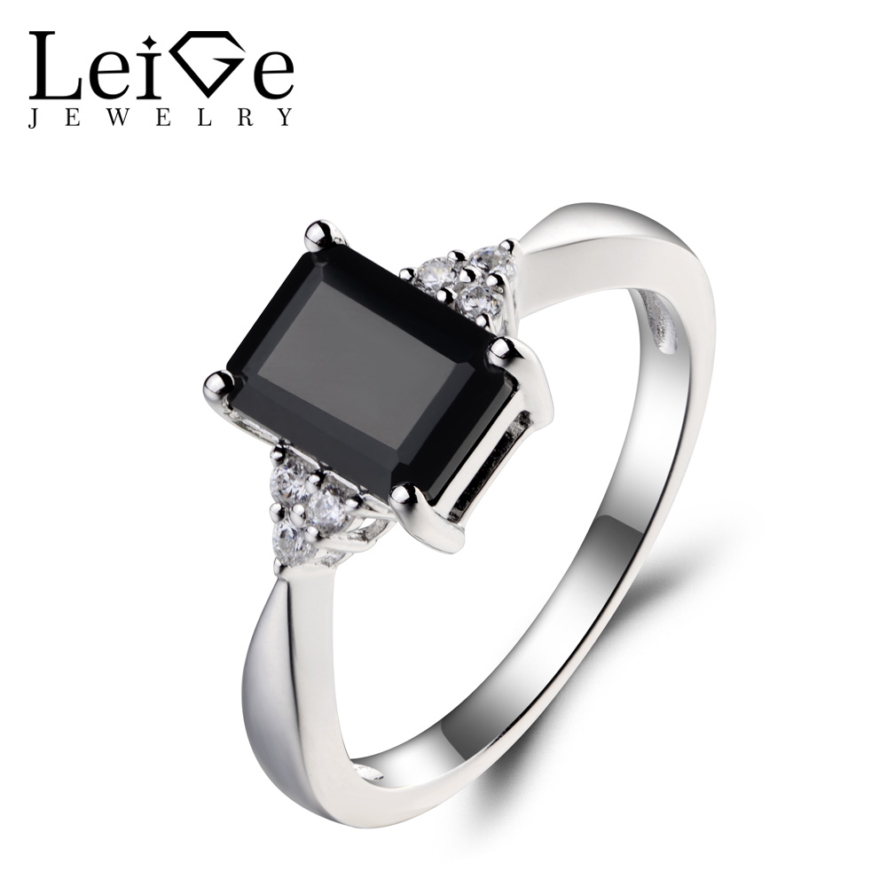 Leige Jewelry Genuine Natural Black Spinel Ring Engagement Ring Emerald Cut Black Gemstone 925 Sterling Silver Ring for Girls цена