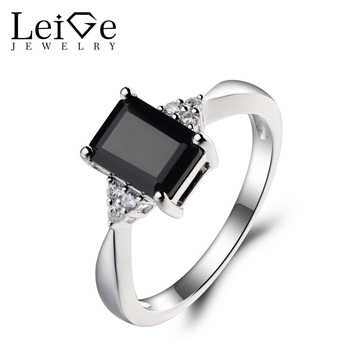 Leige Jewelry Genuine Natural Black Spinel Ring Engagement Ring Emerald Cut Black Gemstone 925 Sterling Silver Ring for Girls