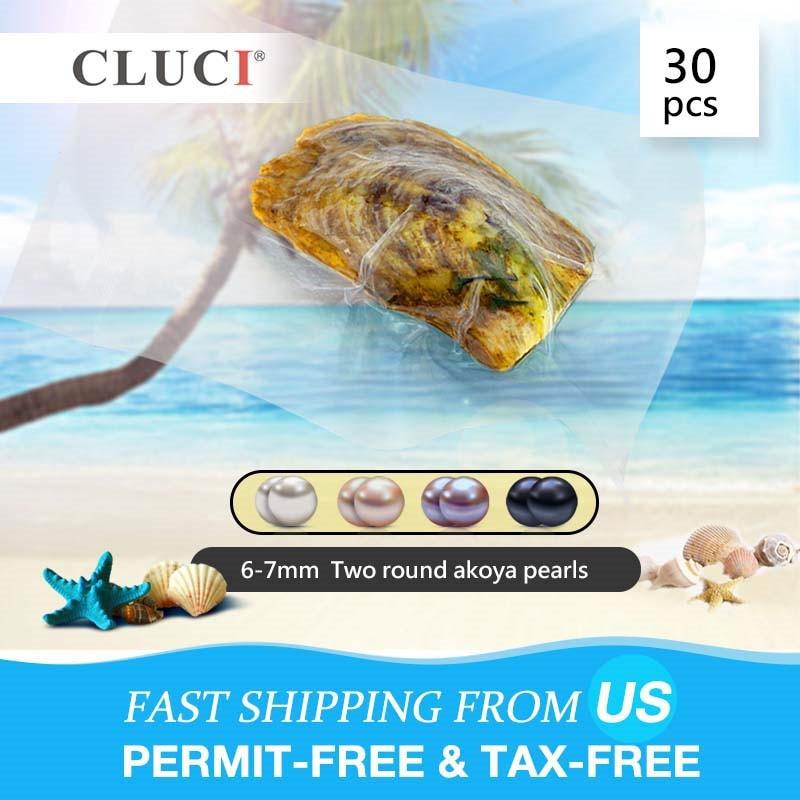 CLUCI 30 piezas 6 7mm Natural Akoya perla Oyster calidad Akoya perla cuenta en ostras al vacío con los gemelos de perlas-in cuentas from Joyería y accesorios    1