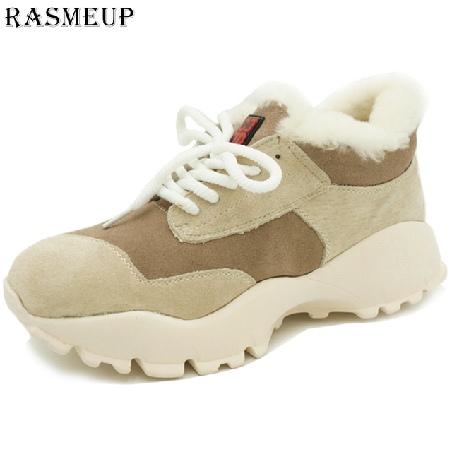 RASMEUP/зимние женские кроссовки из натуральной кожи, 2018 меховая теплая женская обувь на платформе, модная обувь на плоской подошве со шнуровкой, женская обувь