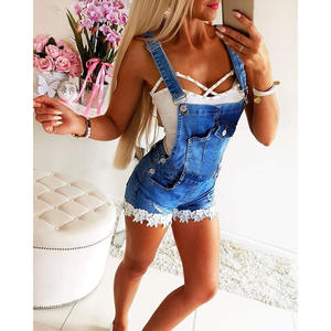 Short Jumpsuits Pants Dungarees Overalls Women Ladies Rompers Denim Casual Ripped Streetwear