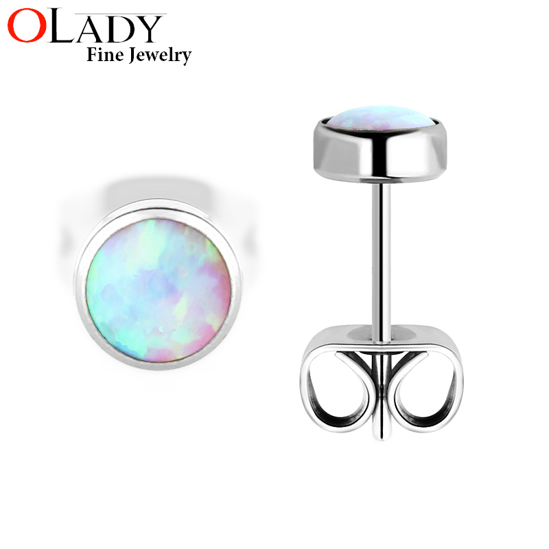 Nya 5MM Stud Örhängen [100% Titanium G23] Opal For Girls Anti-allergiska Örhängen Mode Smycken