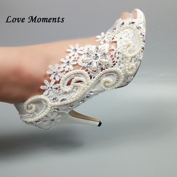 Love Moments Beading White Flower Wedding shoes Bride Fish Toe High Heel Platform shoes Ladies Pumps Party Dress shoes Peep Toe