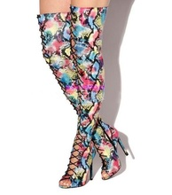 Sexy Mixed Colors Print Leather Over The Knee Thigh High Boots Peep Toe Lace-up Front Women High Boots Plus Size Ridding Boot
