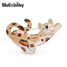Wuli&baby Enamel Brown Cat Spot Leopard Brooches Women Animal Brooch Pin 2019
