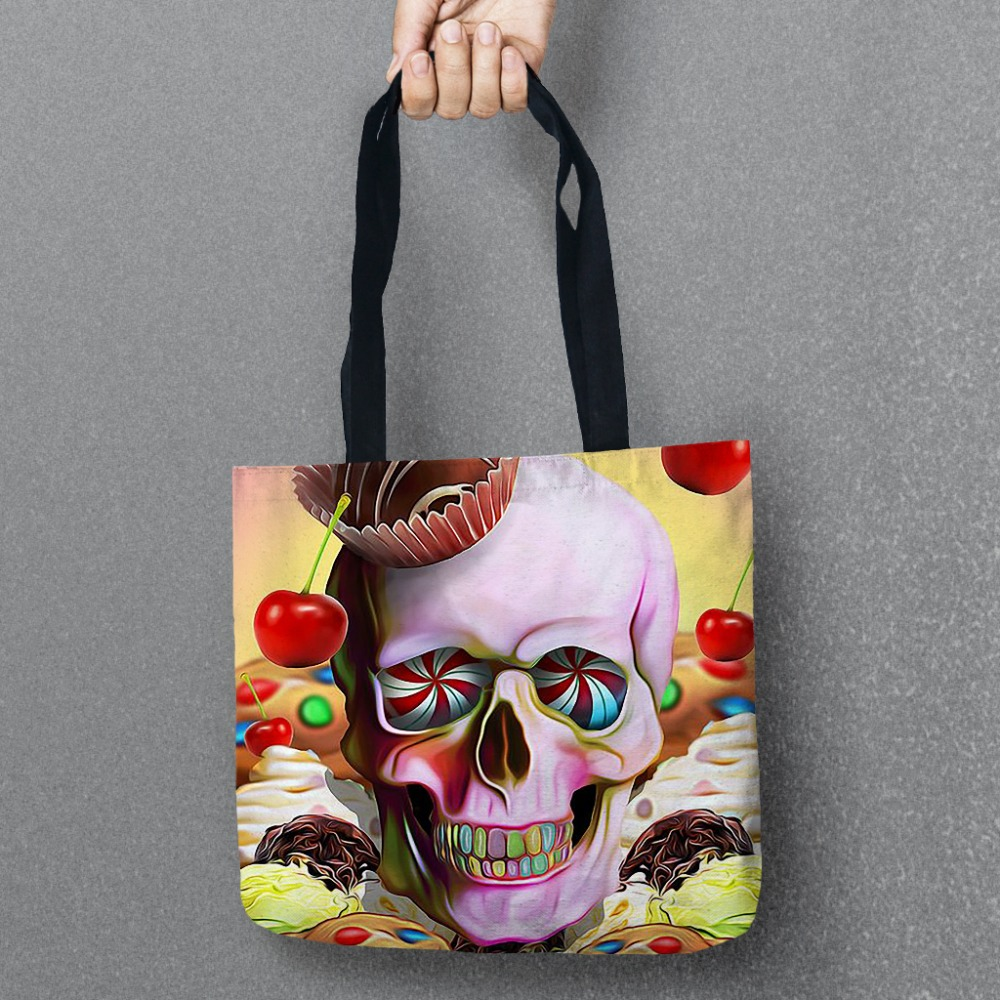 New Day of Dead Storage Bags Skull Printed Shopping Tote Linen Bag For Food Convenience Women