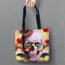Neue Tag der Toten Aufbewahrungsbeutel Schädel Gedruckt Einkaufstasche Leinen Tasche Für Lebensmittel Komfort Frauen Schulter Handtaschen 1 Teile/los