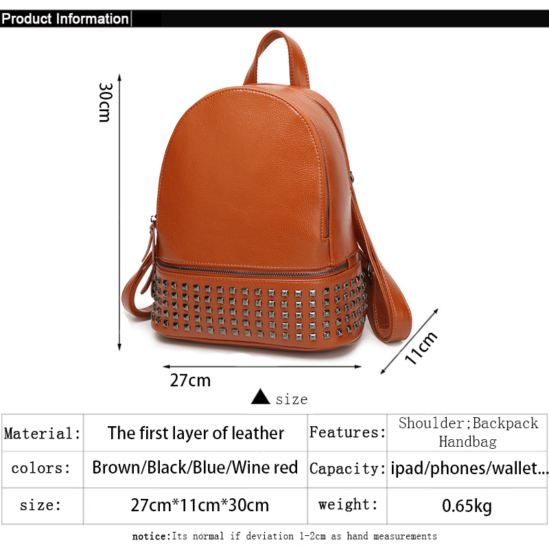 Brand Women Designer Rivets Genuine Leather Backpack 4 Colors Vintage High  Quality Girls School Rucksack Ladies Best Back Pack-in Backpacks from  Luggage ... 198f5a8b7018d