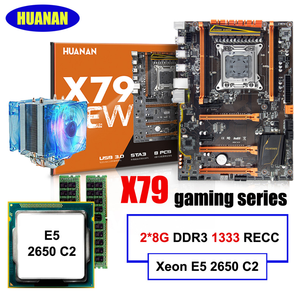 Building perfect computer brand HUANAN deluxe X79 motherboard Xeon E5 2650 C2 with cooler RAM 16G(2*8G) DDR3 1333 REG ECC tested new for 647909 b21 647658 081 8g 1333 ecc udimm 1 year warranty