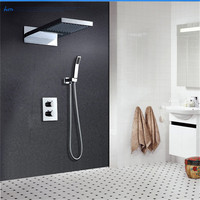Bathroom 22 Inch Rainfall And Waterfall Wall Mounted Shower Set With Thermostatic Mixer Valve Chrome Polished