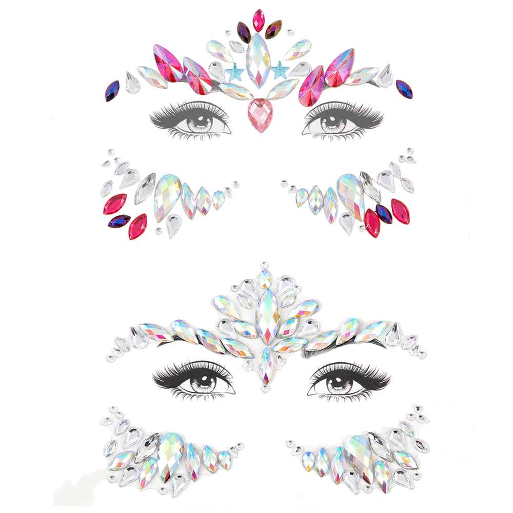 3D Crystal Glitter Jewels Tattoo Sticker Women Fashion Face Gems Gypsy  Festival Adornment Party Makeup Sticker For Body Art in Pakistan 9c009e34c5ff