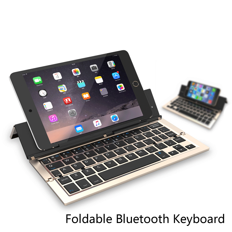 Intelligent Pocket Folding Keyboard Aluminum Bluetooth Foldable Universal Wireless Travel Keypad for iphone ipad PC tablet phon universal wireless foldable silicone soft bluetooth keyboard for cellphone tablet pc white red