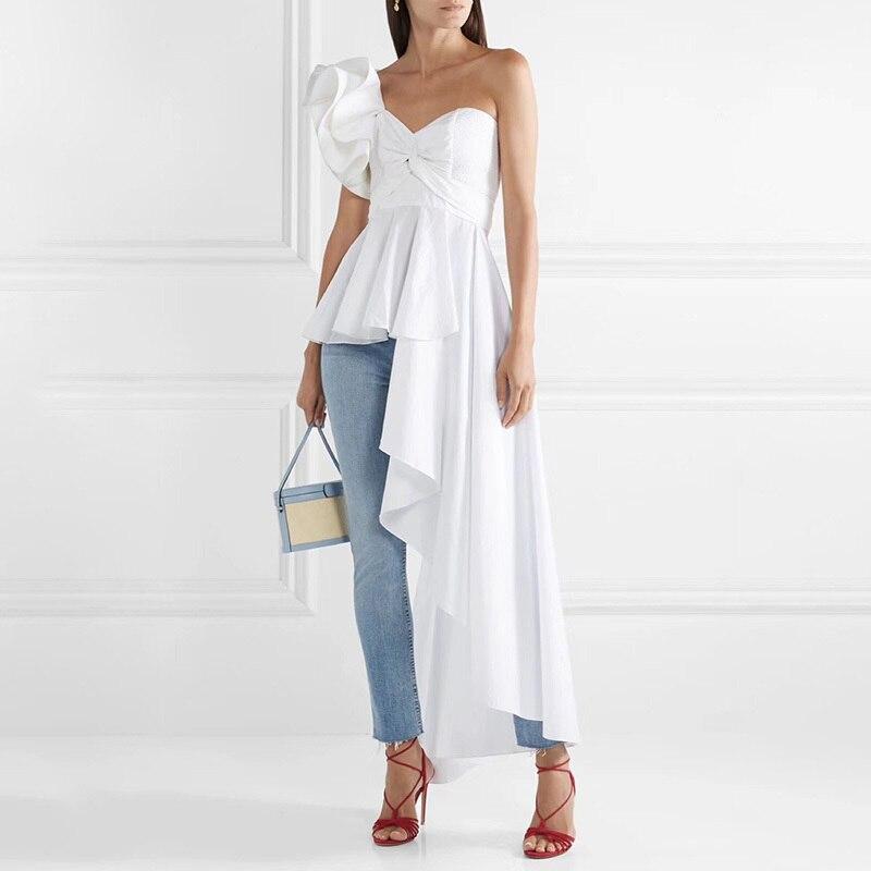 MIAOQING asymétrique chemise hauts femme épaule dénudée à lacets irrégulière à volants Sexy Blouse femmes mode 2018 automne nouveau