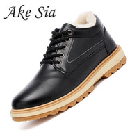 Ake Sia 2017 Newest Keep Warm Men Winter Boots High Quality Pu Leather Casual Boots Fahsion
