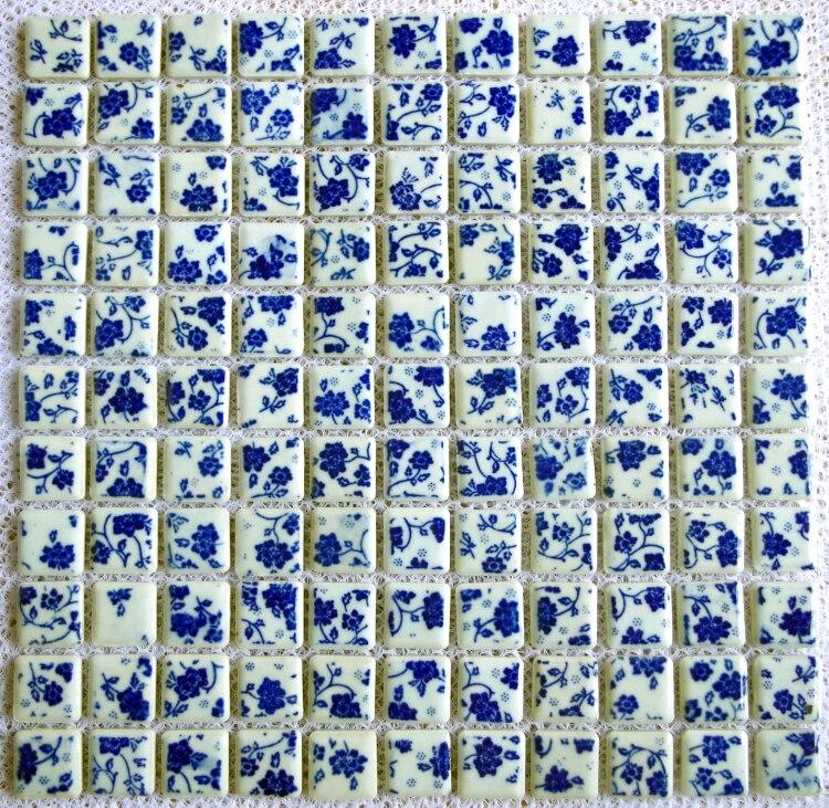 fotos de ideas de azulejos de bañera TST Porcelanato Azul Floral Blanco Mosaicos Arte Back Spalsh