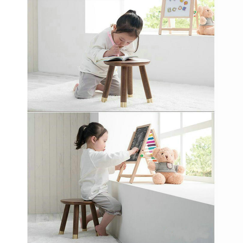 HQ ST02 Luxury Children Stool Child Small Seat Footstool Studying Desk Of American Black Walnut And Brass Foot Material