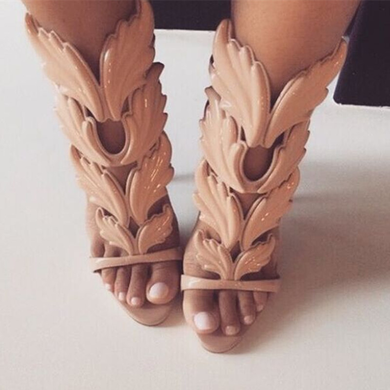 Nude Black Metallic Winged Gladiator Women Sandals High Heels Sandals Summer shoes woman Woman Sandalias Ladies shoes hottest golden metallic leather wing sandals silver gold red gladiator high heels shoes women metallic winged sandals