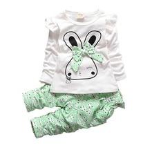 купить Girls Spring Casual Clothing Sets Children T-shirt Pants 2 Pcs/Sets Kids Cute Clothes 2018 Toddler Autumn Tracksuits по цене 323.7 рублей