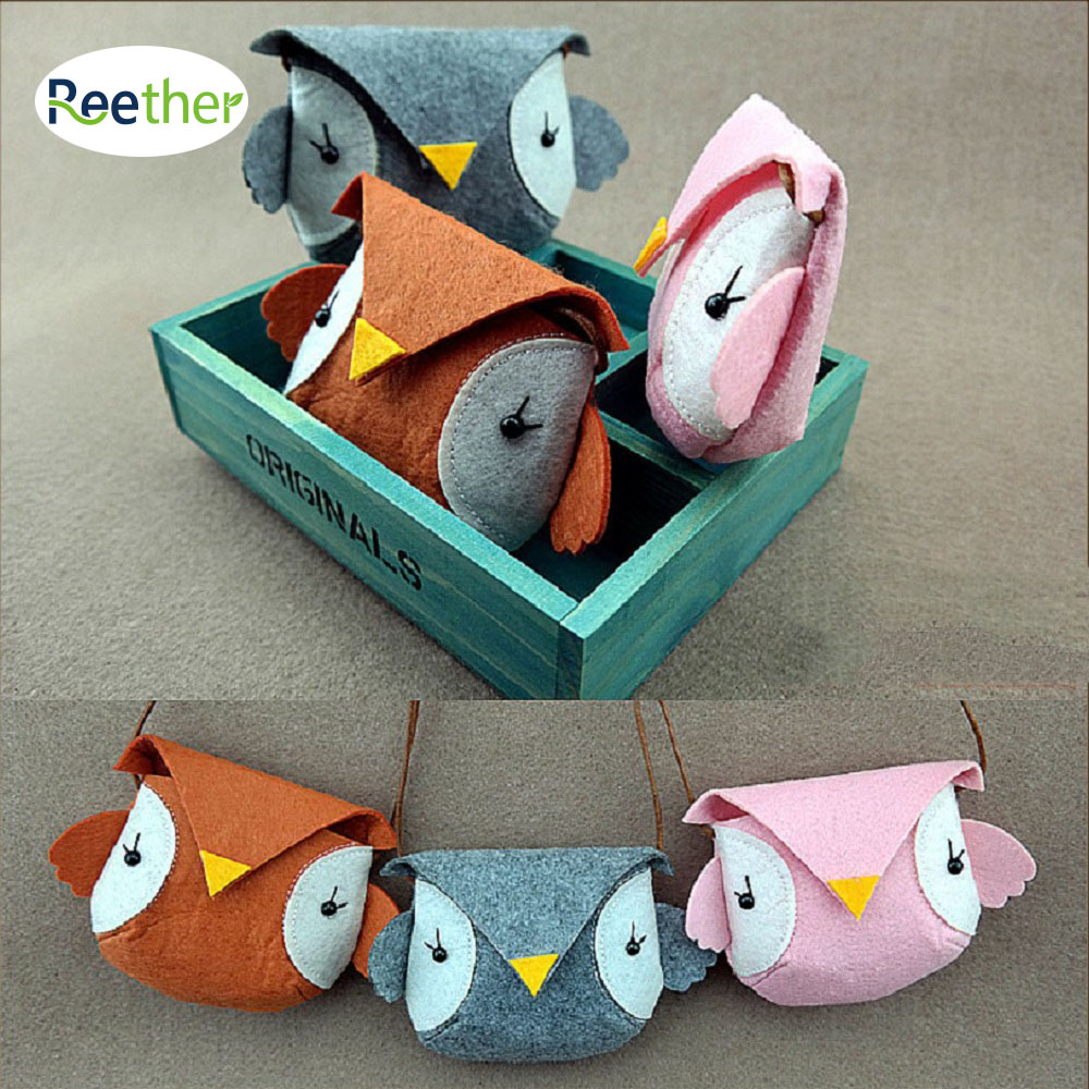 Reether Girls Non-woven Coin Purse Dimensional Owl Shape Cash Bags Childrens Mini Shoulder Bag Charge Wallet Pouch Package