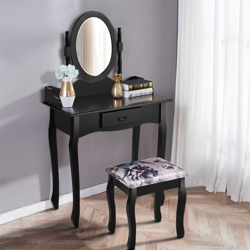 Marvelous Vanity Makeup Dressing Table Stool Set With Mirror White Bralicious Painted Fabric Chair Ideas Braliciousco