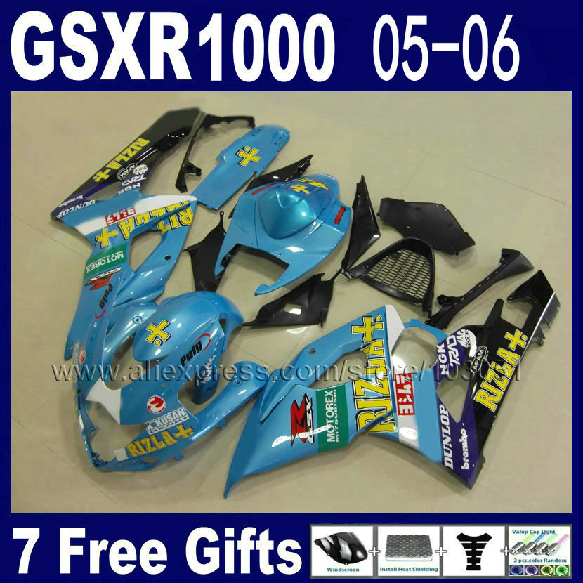 ABS stampaggio Ad Iniezione kit carenatura per suzuki blu RIZLA + GSXR 1000 K5 2005 2006 kit 06 05 carenature del motociclo kit