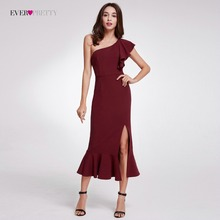 2018 Hot Sale Ever Pretty Elegant Burgundy Aften Kjoler Tea-Length Split Simple Design EP07234BD Kvinder Formelle Aften Kjoler