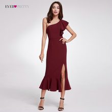 Robe De Soiree Ever Pretty Elegant Burgundy Evening Dresses Tea-Length Split Simple Design EP07234BD Women Formal Evening Gowns(China)