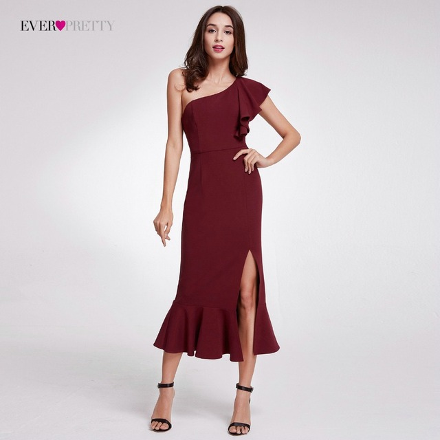 Elegant Burgundy Evening Dresses Tea-Length Split Simple Design 1