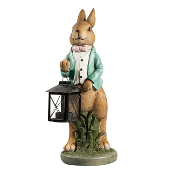 Cute Rabbit Lantern Candlestick Resin Crafts Desktop Ornaments Figurines Sculpture Home Decor Accessories Wedding Candle Holder