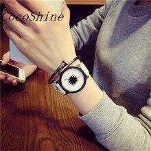CocoShine A-511 Любителей Моды Мужчины Женщины Кожаный Ремешок Кварцевые Аналоговые Наручные Часы оптовая Бесплатная доставка
