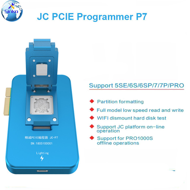 JC programador Pro1000S JC P7 PCIE NAND para iPhone XS Max 8X7 7 P 6 6S Plus