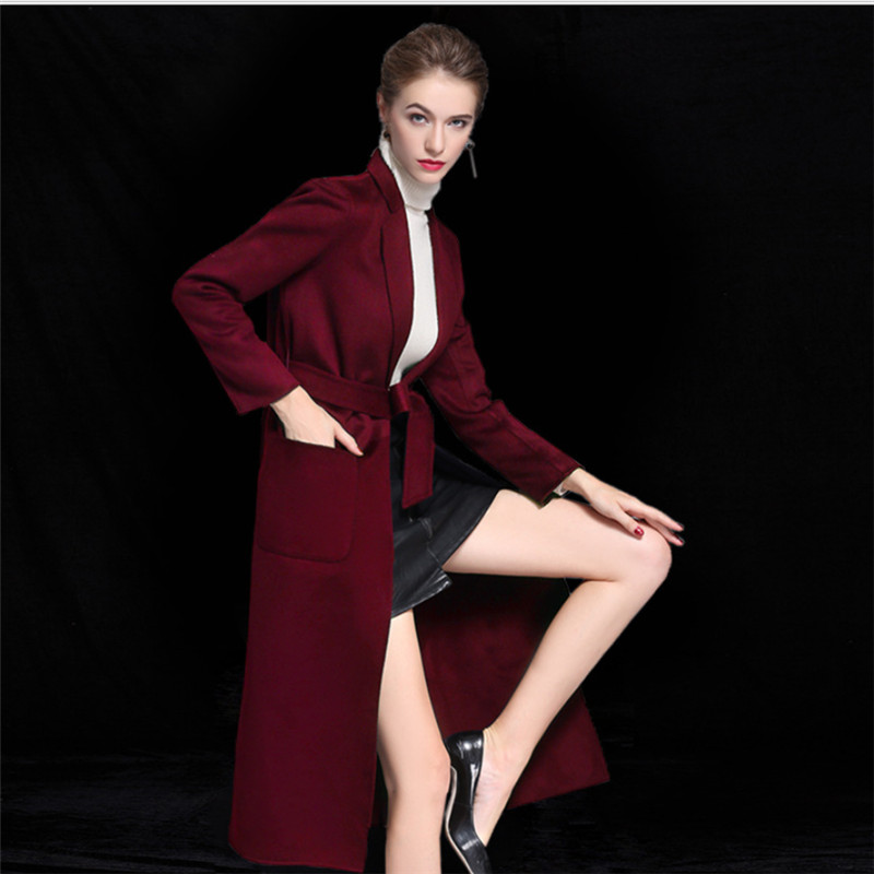 2018 High Quality Women Double Side Woolen Coat Ladies Autumn Winter Warm Long Cashmere Belt Luxury Trench Overcoat V1014 in Wool amp Blends from Women 39 s Clothing