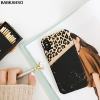 BABKAHSO Leopard Grain Marble Patch Case For IPhone 8 8Plus Mosaic Hard Case For IPhone X