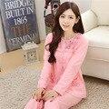A la Venta Más El Tamaño de Las Mujeres 100% Algodón Conjuntos de Pijamas de Invierno Femenino Mujeres de Manga Larga Pijamas ropa de Dormir Homewear