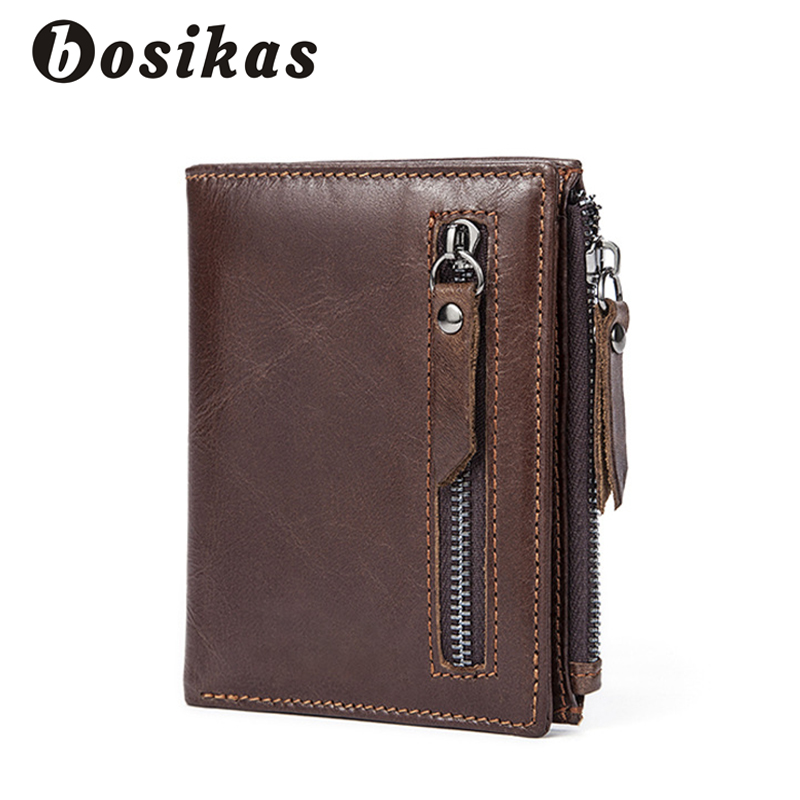 BOSIKAS Genuine Cowhide Leather Men Wallet Small Vintage Wallet Short Coin Bag Brand High Quality Designer Casual Money Clips