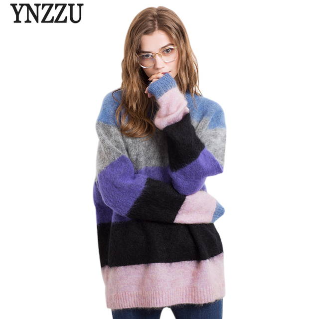 New Autumn Winter Women Sweater 2017 Chic Mohair Rainbow Loose Female  Knitted Pullovers Jumper Streetwear Large e0c1ef4db