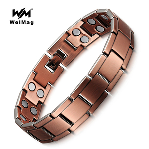 WelMag Vintage Copper Magnetic Bracelet for Men / Women 2 Row Magnet Bio Energy Healing Bangles Fashion Jewelry Male Wristband
