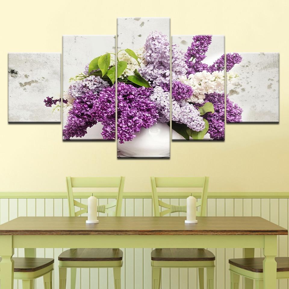 Lilac in a vase flowers 5 Panels HD Print Wall Art modern Modular ...
