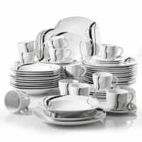 VEWEET FIONA assiette céramique porcelaine 60 pièces lignes noires ensemble combiné avec assiettes à Dessert/assiettes à soupe/assiettes à dîner/tasses/soucoupes