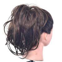 Delice bande de caoutchouc cheveux Chignon frisé chouchou avec petit Chignon élastique tressé brun foncé synthétique Wrap sur cheveux petits pains