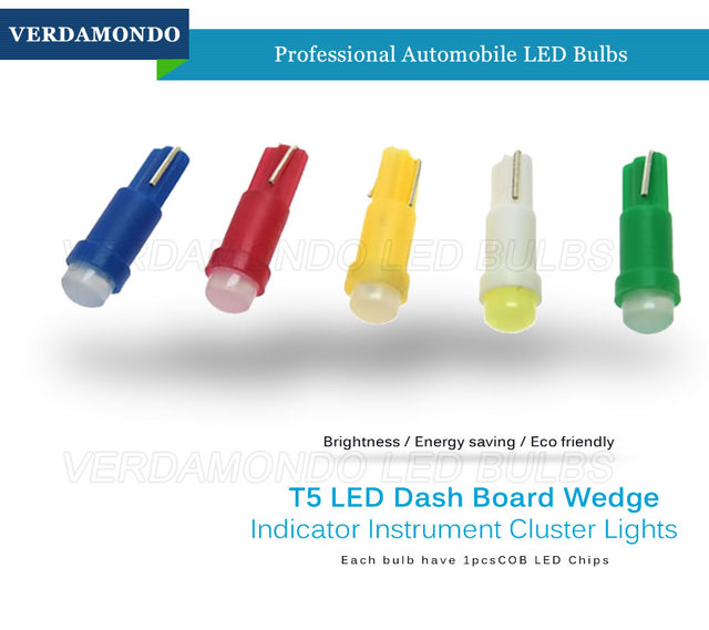 20pcs Car Interior T5 Led 1 SMD DC 12V Light Ceramic Dashboard Gauge Instrument Ceramic Car Auto Side Wedge Light Lamp 6 Colors 2