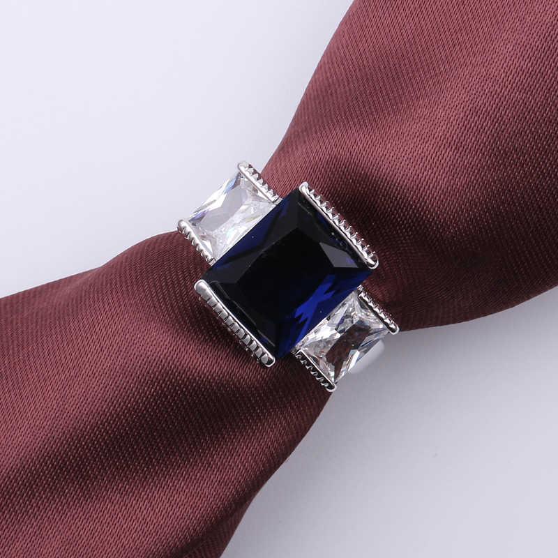 แฟชั่น Blue Square Zircon แหวนหินสำหรับหญิงชายสีขาวทองงานแต่งงานฮาโลวีน Finger แหวนวันวาเลนไทน์