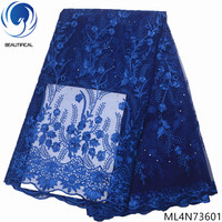 BEAUTIFICAL nigerian lace fabrics 5yards blue tulle lace beads fabrics for dress french lace with sotnes Latest design ML4N736