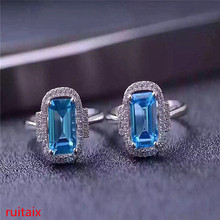 KJJEAXCMY fine jewelry 925 Sterling silver inlaid with natural gemstone blue topaz ring jewelry silver color. tbj romantic small ring with natural good color blue tanzanite gemstone girl ring in 925 sterling silver fine jewelry for women