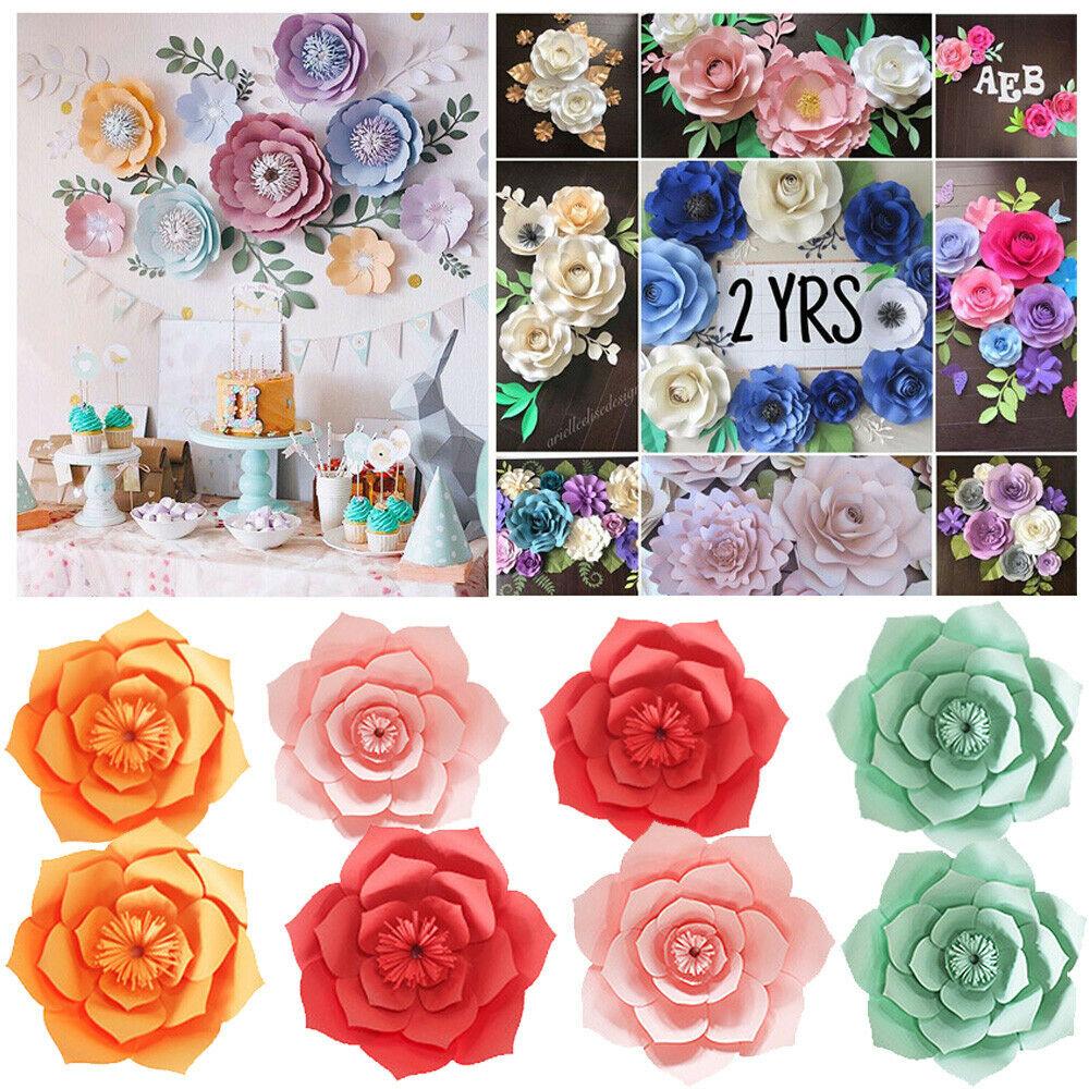20//30//40CM Paper Flower Backdrop Wall Large Rose Flowers DIY Wedding Party Decor