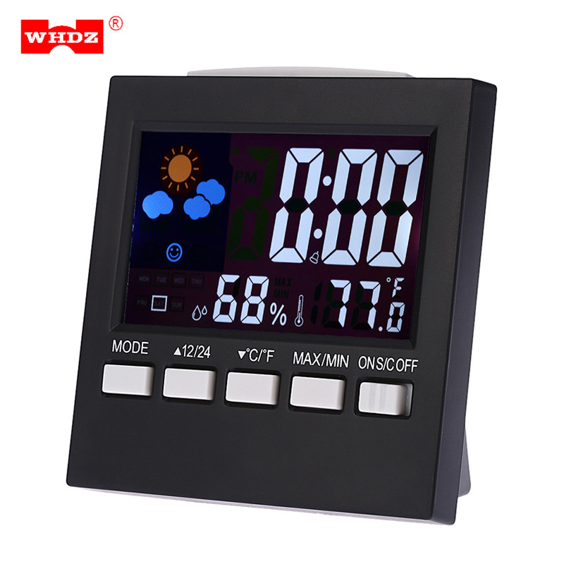 WHDZ Indoor Hygrometer Thermometer LCD Display Indicators Multifunctional Home Digital Alarm Clock Temperature Humidity Monitor digital tester 3in1 multifunction temperature humidity time lcd display monitor meter for car indoor outdoor greenhouse etc