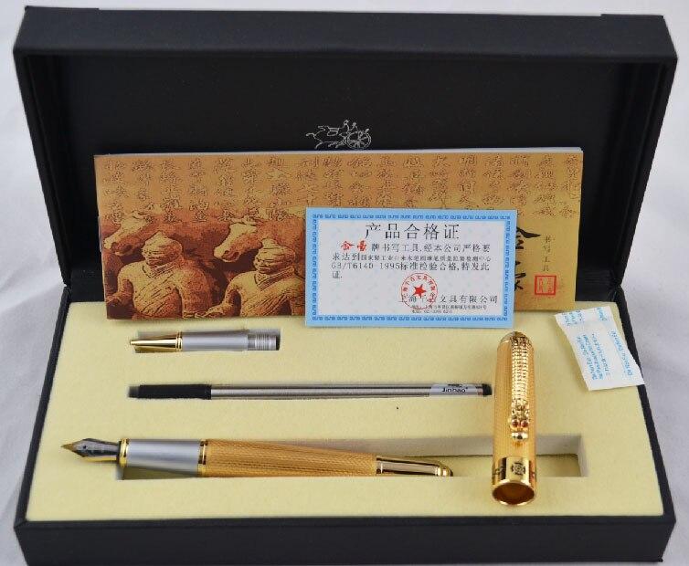 Jinhao 1000 Oro e Dragon Clip Penna Stilografica + Roller con Scatola Originale Spedizione Gratuita Penne Set