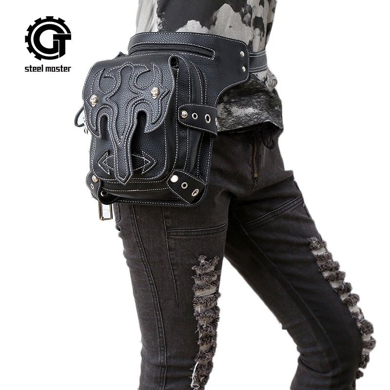 Steam punk general mobile phone bag mini leg bag travel men women's handbag Retro Rock Gothic leather waist bag packs