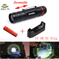 Zoommable CREE XM-L T6 2400lm LED Rechargeable 18650 Flashlight 3 MODE+recharger 18650 battery +charger